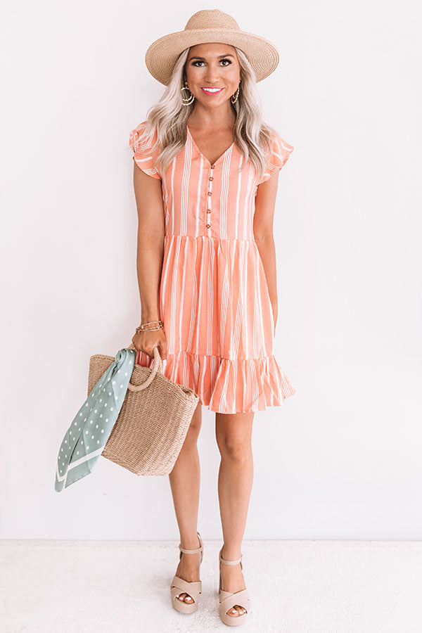Valley Views Stripe Dress In Coral