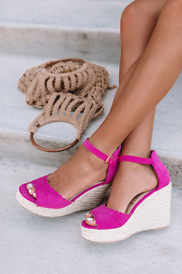 The Nicolette Faux Suede Espadrille Wedge in Hot Pink