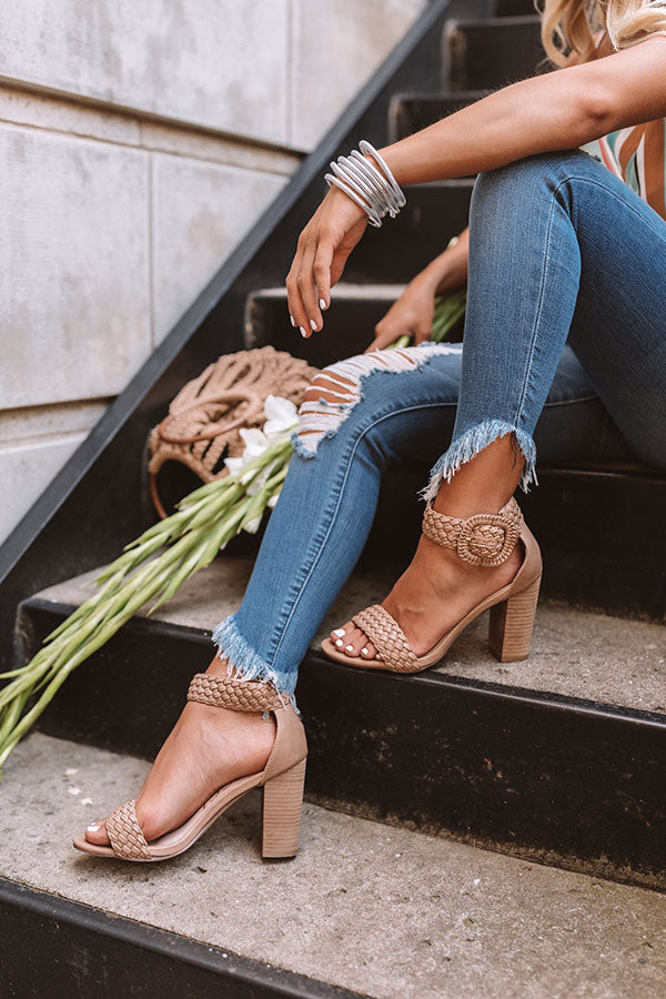 The Jess Faux Leather Heel in Warm Taupe