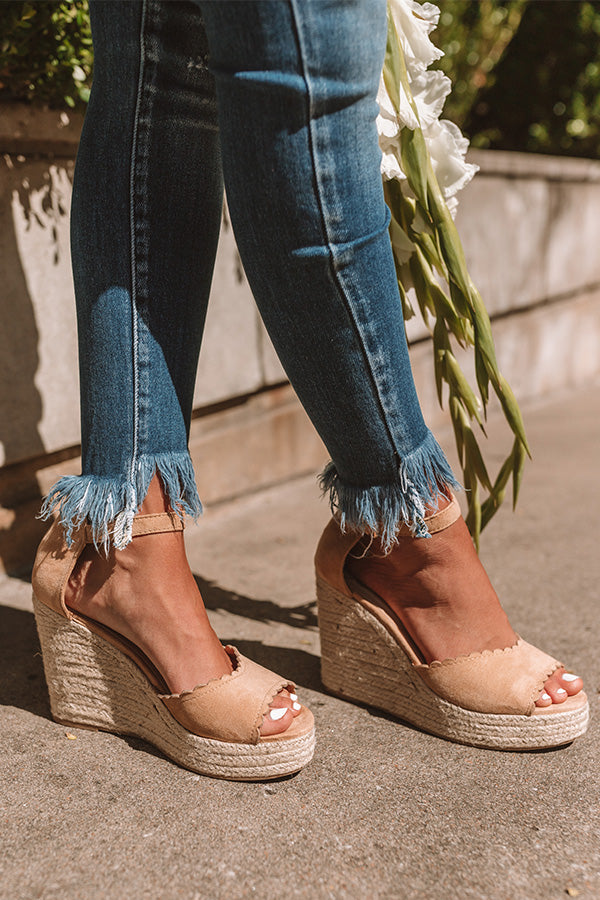 The Nicolette Faux Suede Espadrille Wedge in Iced Latte