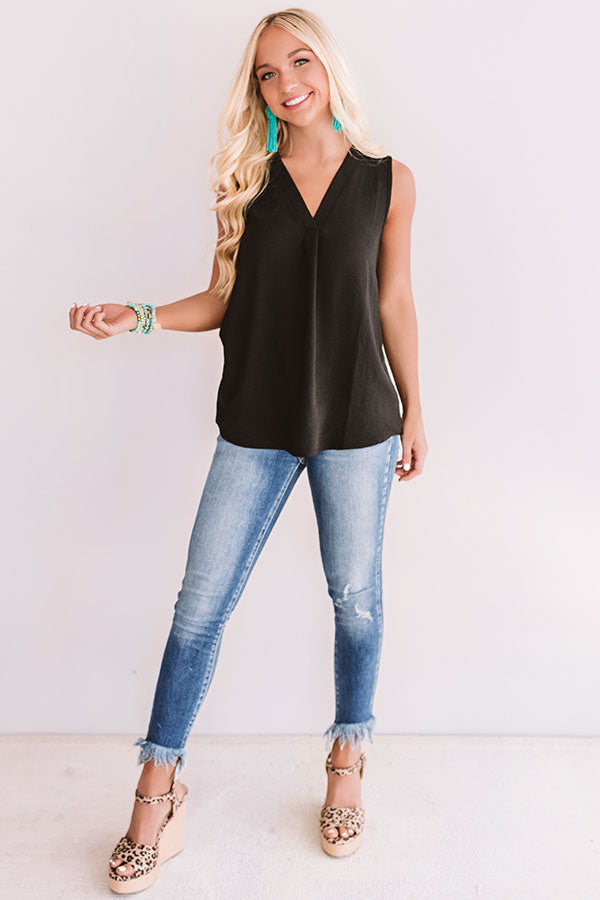 Under The Boardwalk Shift Tank In Black