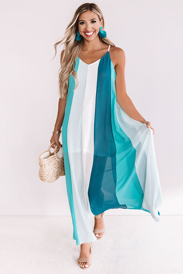 Seek To Sea More Stripe Maxi In Turquoise