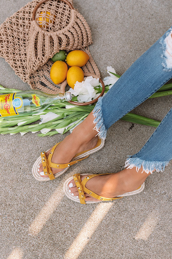 The Tessa Studded Sandal in Yellow