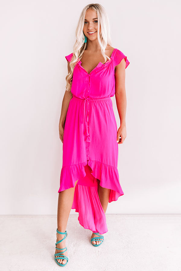 Seaside Vacay Button Up Dress In Hot Pink