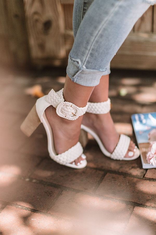 The Jess Faux Suede Heel In Natural