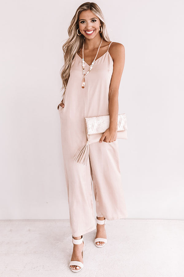 Champagne And Kisses Jumpsuit In Iced Latte