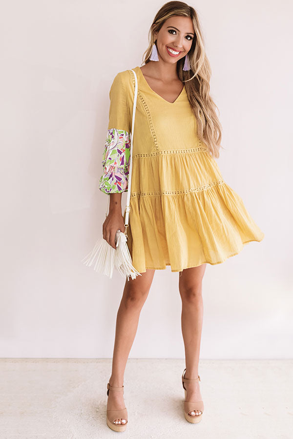 Tranquil Paradise Shift Dress In Primrose Yellow