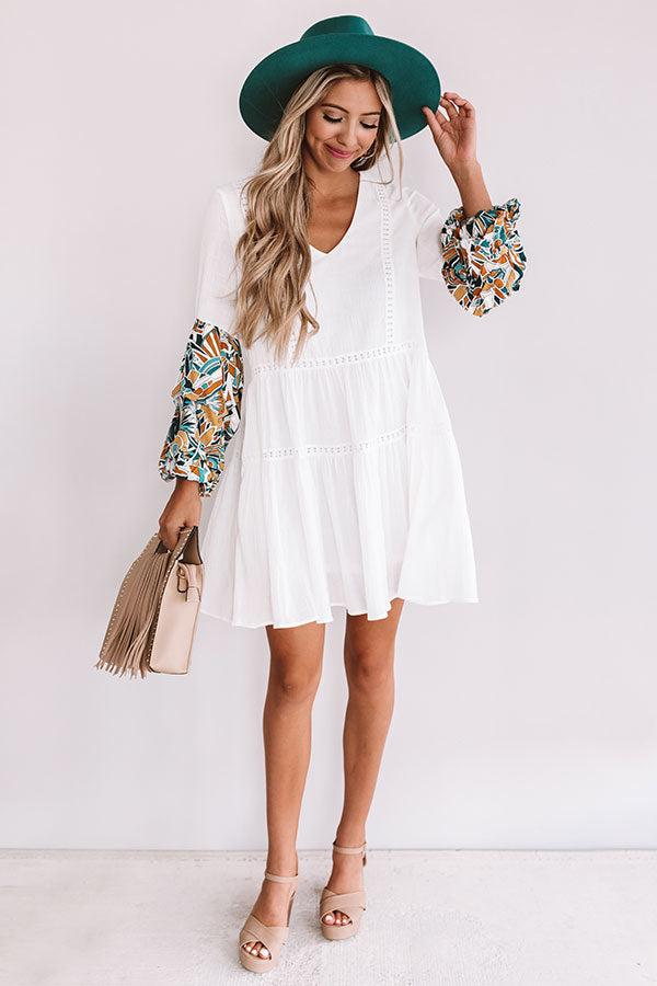 Tranquil Paradise Shift Dress In White
