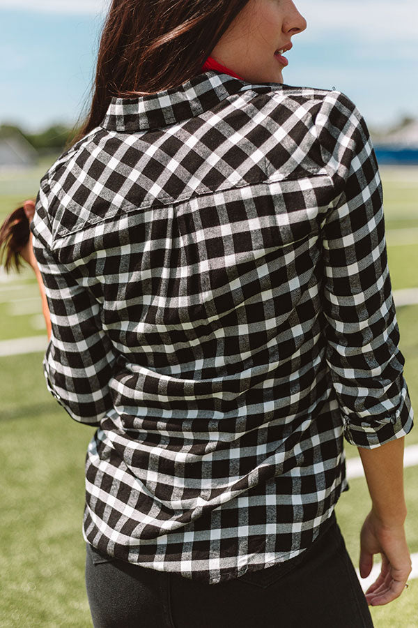Making Memories Plaid Top In Black