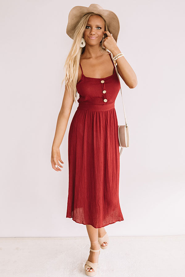 Dawn Till Dusk Midi In Crimson
