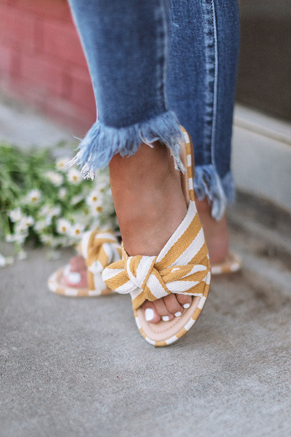 The Kamryn Stripe Sandal in Primrose Yellow