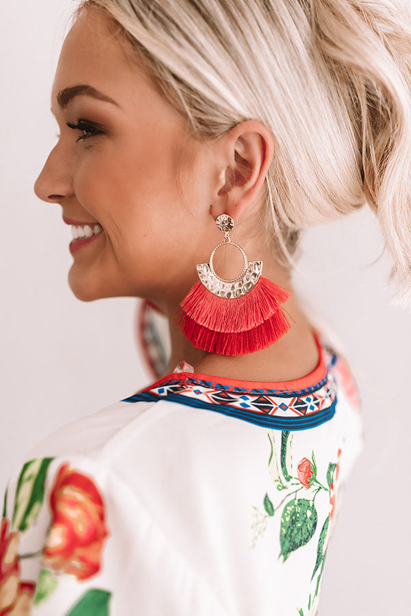 Chic And Steady Earrings In Coral