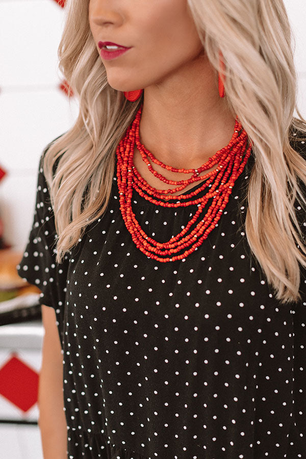 Jetset To Spain Beaded Necklace In Red