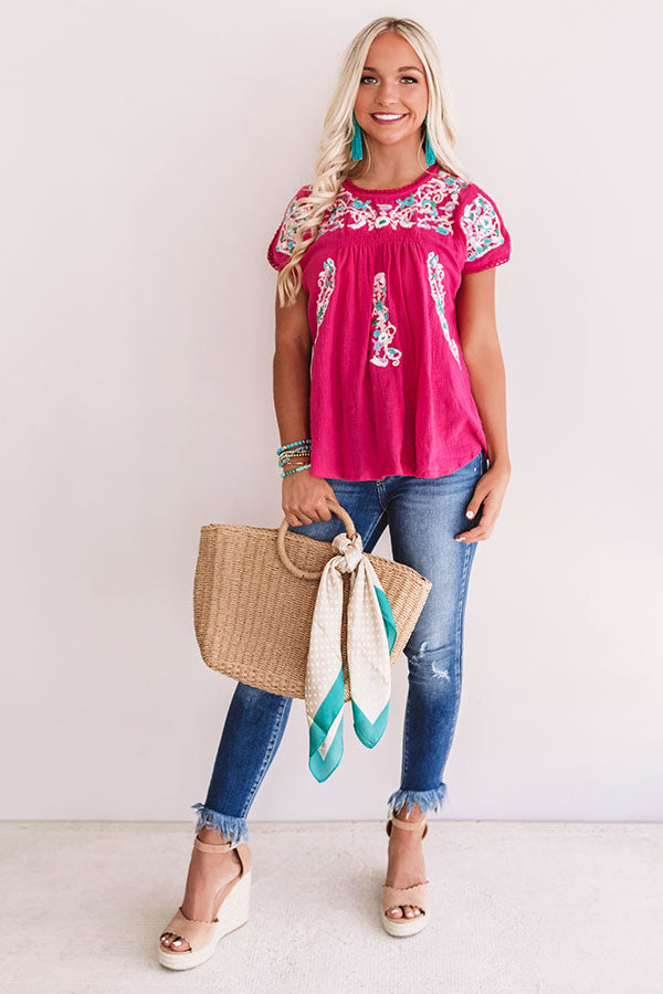 Bring On The Blooms Embroidered Top in Hot Pink