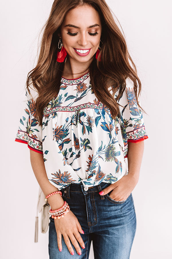 Refreshing In Floral Shift Top In White