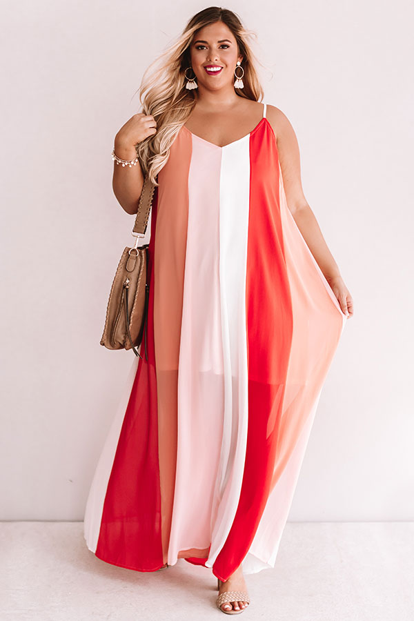 Seek To Sea More Stripe Maxi In Coral