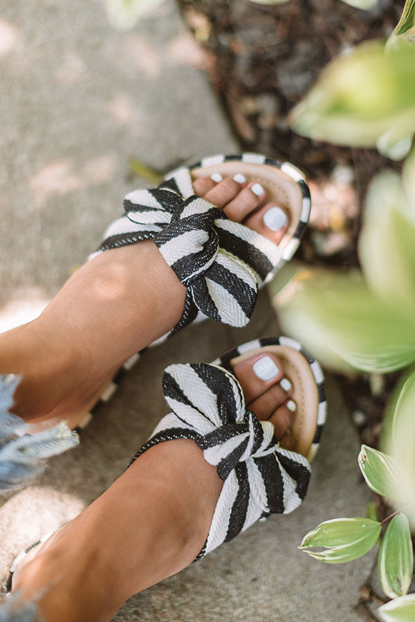 The Kamryn Stripe Sandal in Black