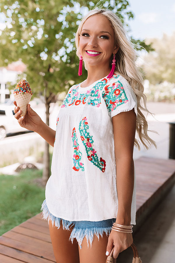Bring On The Blooms Embroidered Top in White