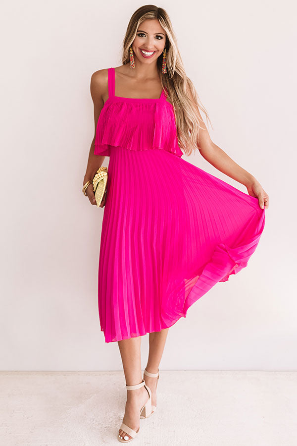 Ooh La Lolly Pleated Midi In Hot Pink