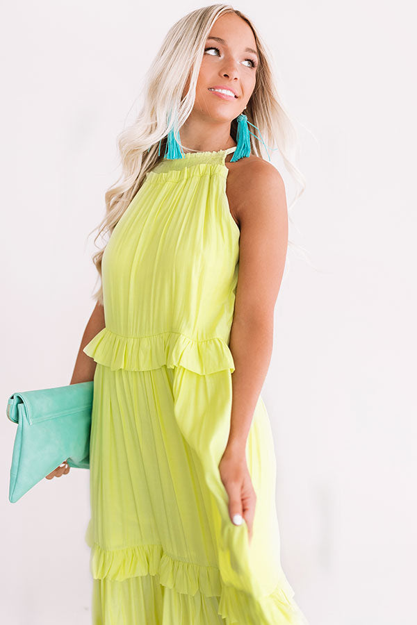 On Holiday Ruffle Maxi In Lime Punch