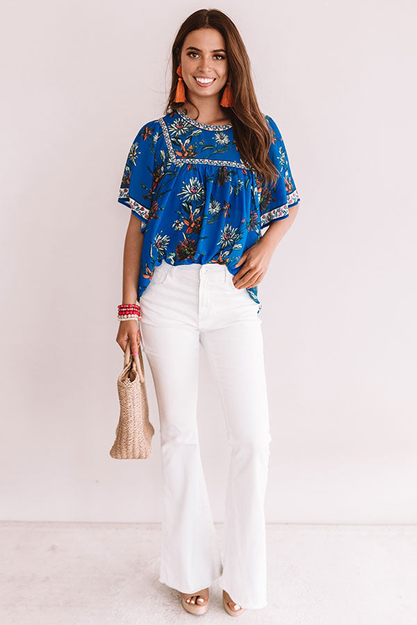 Refreshing In Floral Shift Top In Sapphire