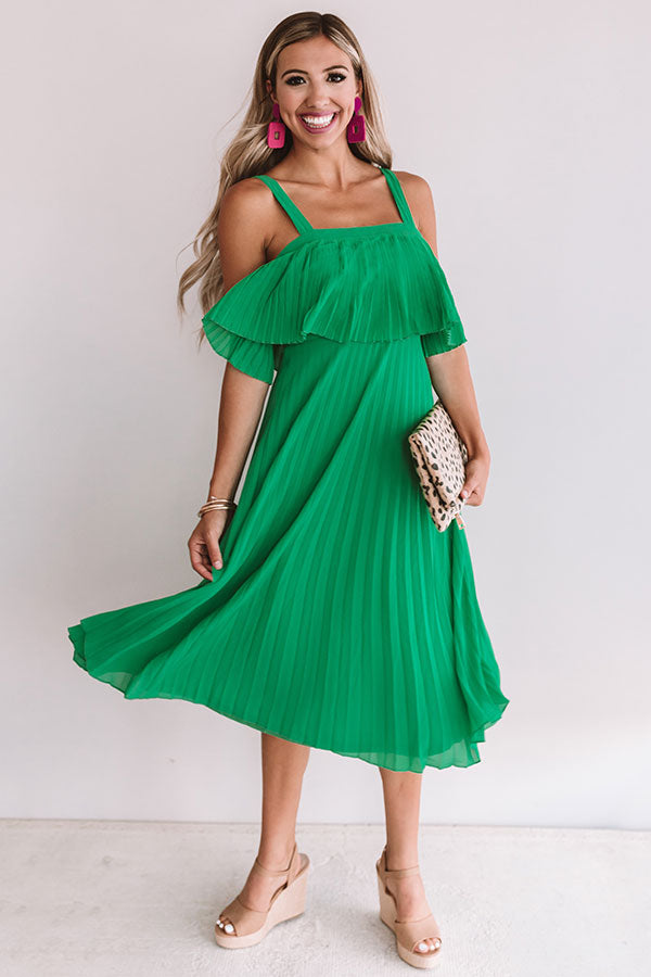 Ooh La Lolly Pleated Midi In Emerald
