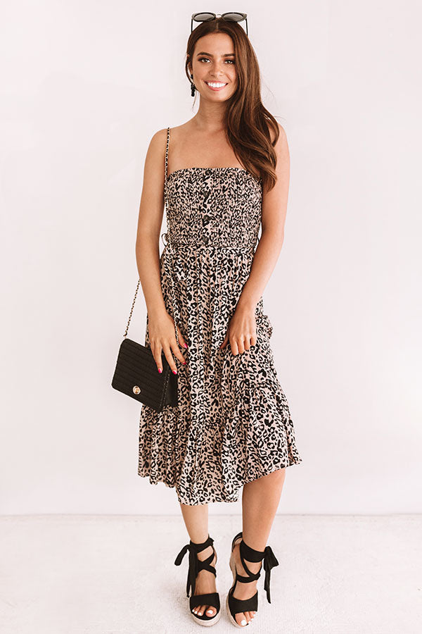 Spotted In The City Leopard Smocked Midi