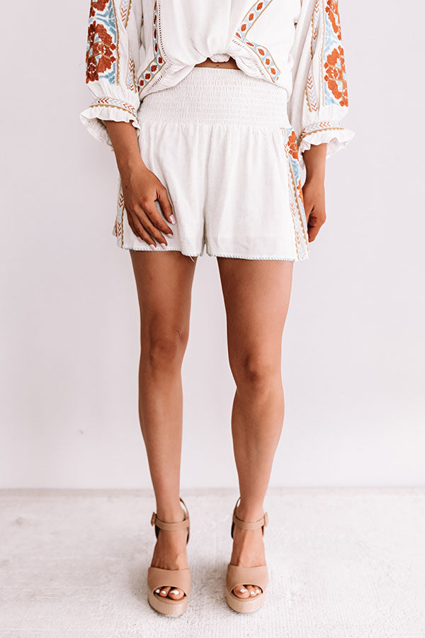 Witty And Chic Embroidered Shorts