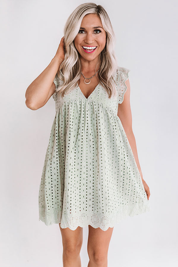 Sway Into Style Eyelet Romper in Light Sage