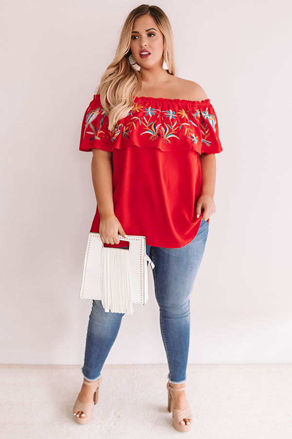 Sunset Palms Embroidered Top In Red