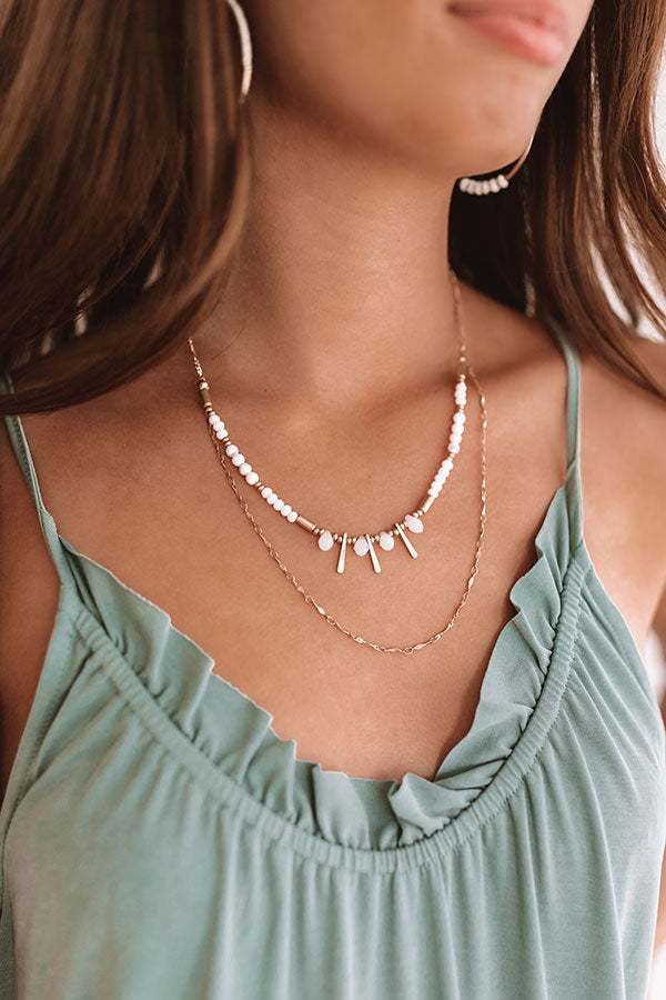 So Graceful Beaded Necklace in White