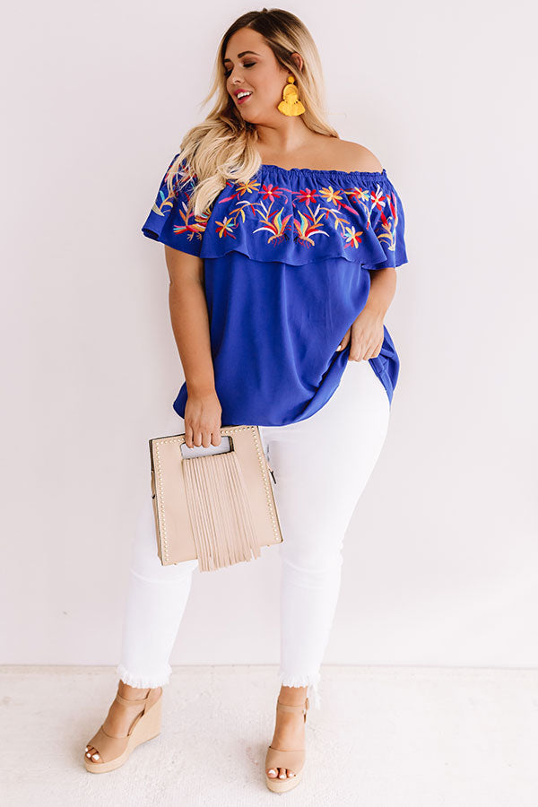 Sunset Palms Embroidered Top In Royal Blue