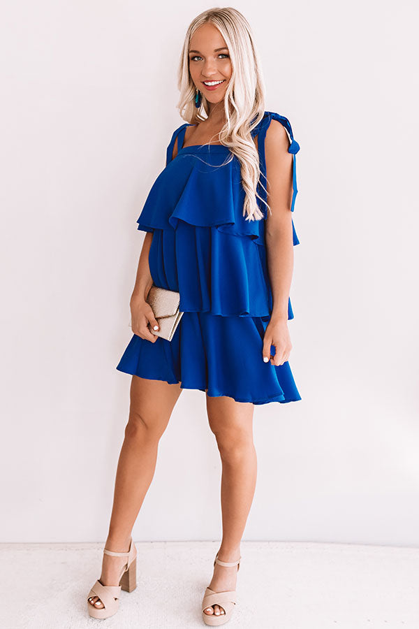 Tier Comes The Sun Shift Dress In Royal Blue
