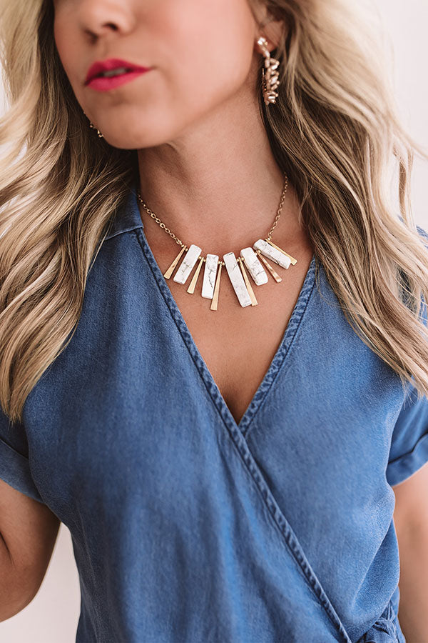 Soho Starlight Marble Necklace in White