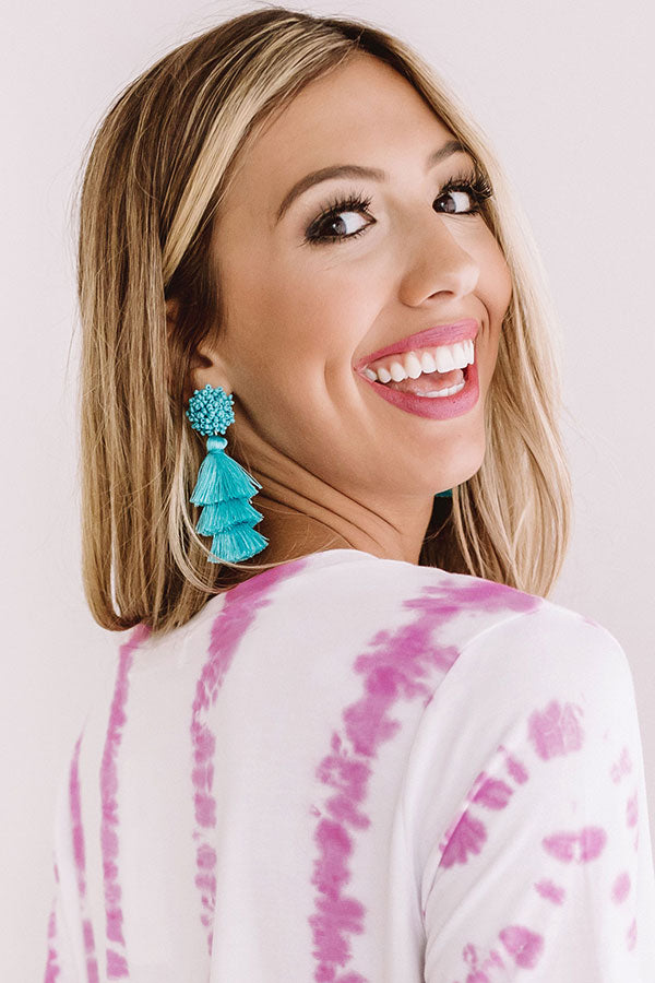 Tranquil Paradise Tassel Earrings In Turquoise