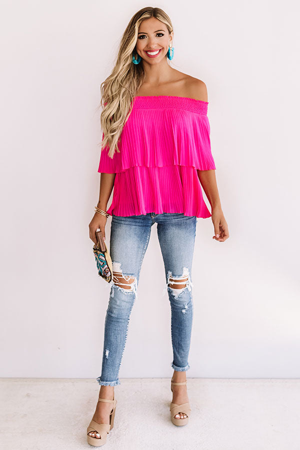 Pass The Sangria Pleated Top In Hot Pink