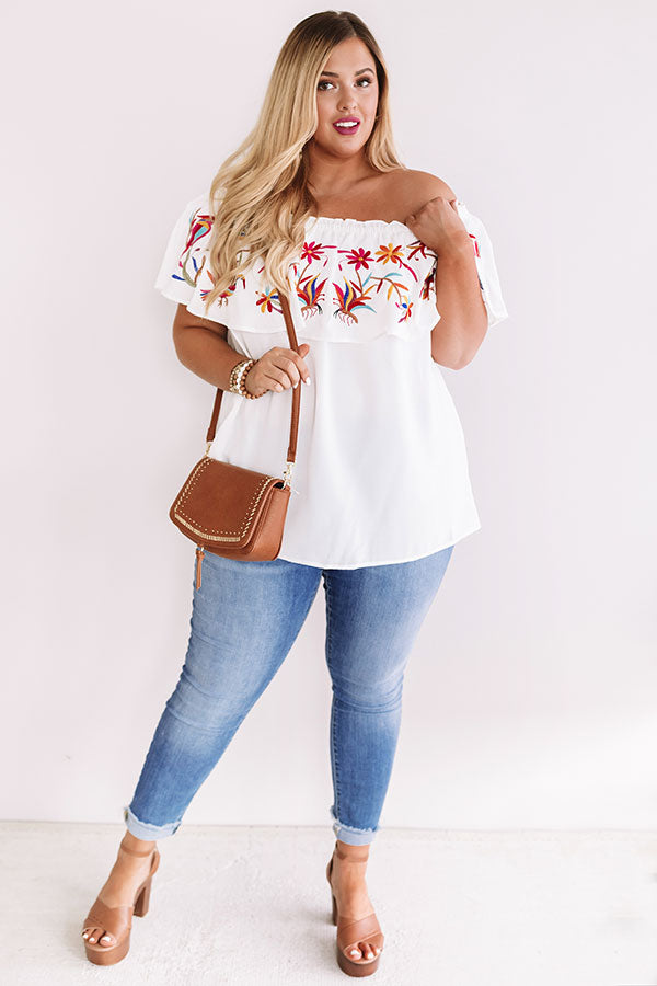 Sunset Palms Embroidered Top In White
