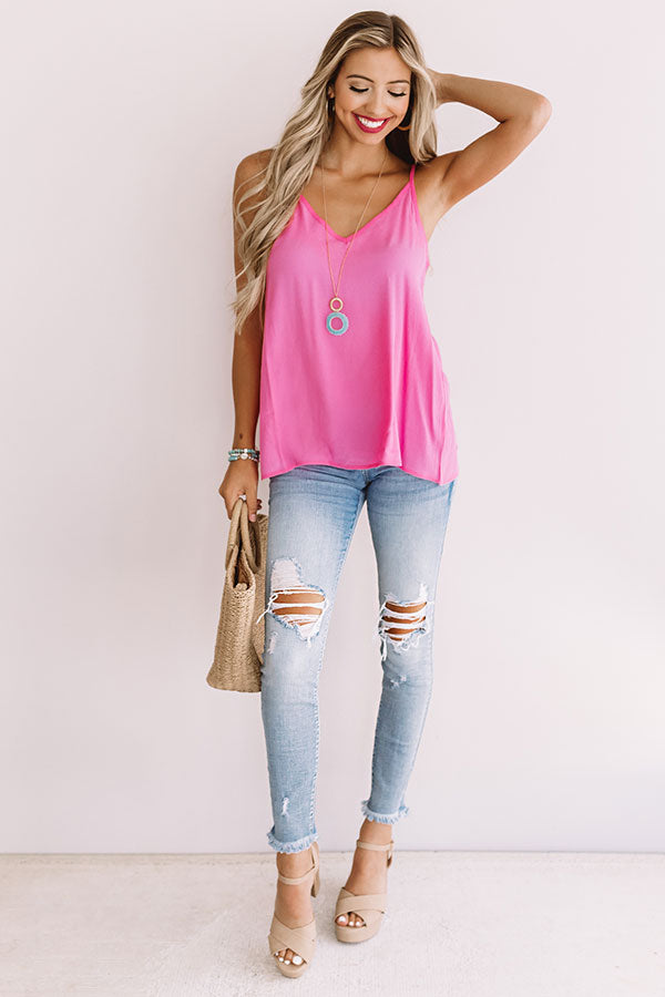 Staycation Smiles Shift Tank In Pink