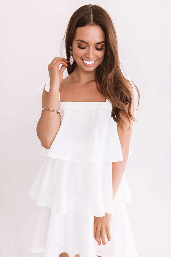 Tier Comes The Sun Shift Dress In White