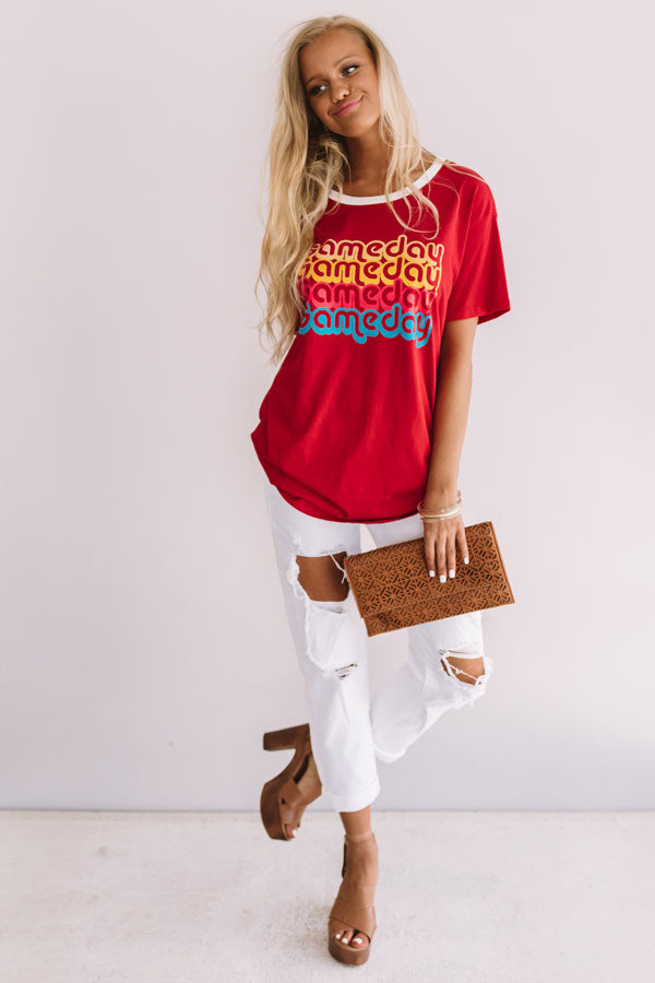 Gameday Ringer Tee In Red