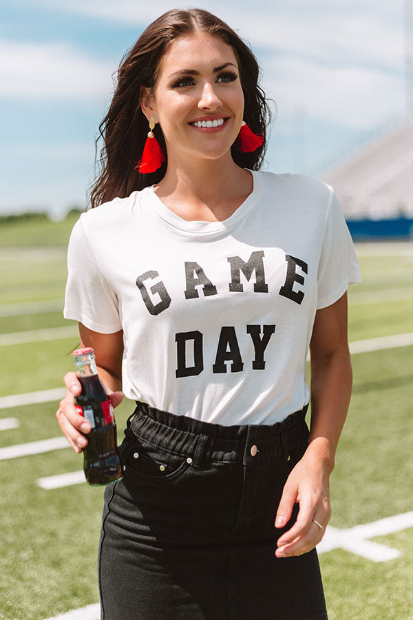 Game Day Boyfriend Tee In White