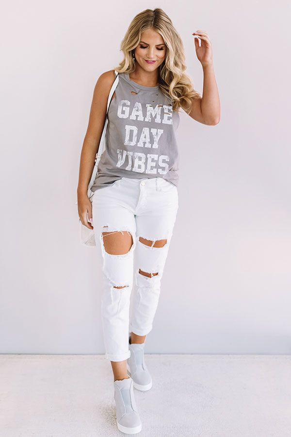 Game Day Vibes Distressed Boyfriend Tank in Grey