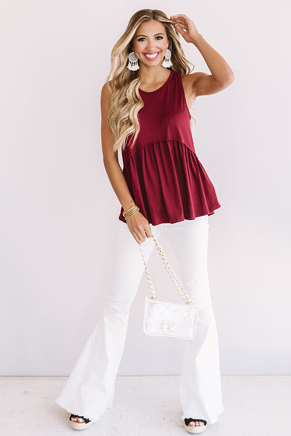 Sugar And Spritzers Babydoll Top In Wine