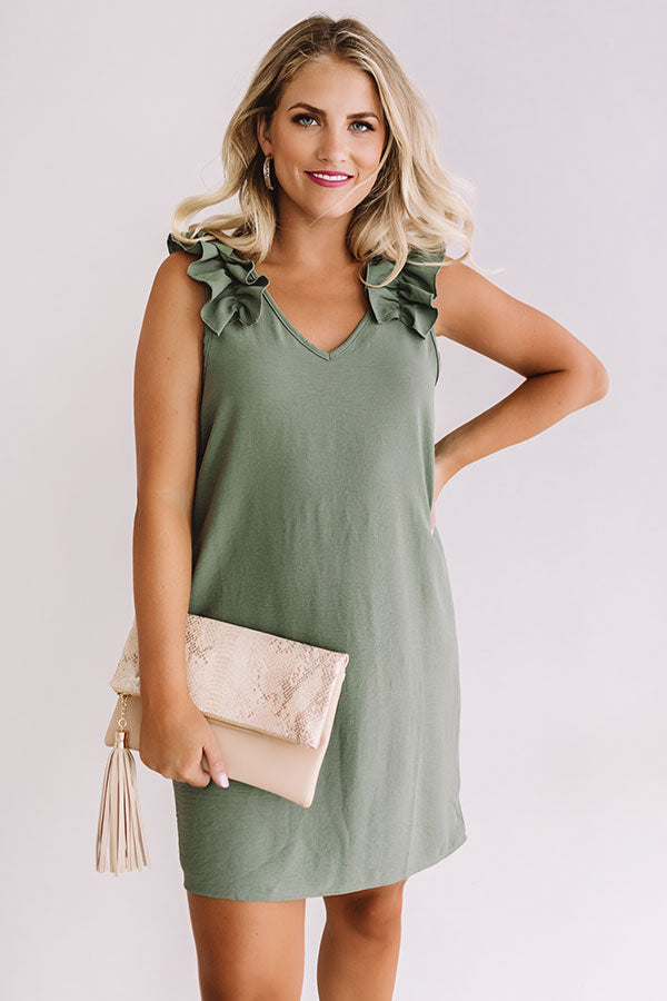 Frolic In France Shift Dress in Sage