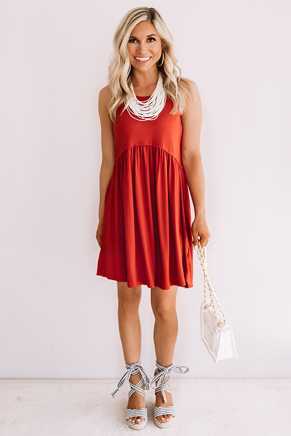 Beach Vibes Babydoll Dress In Aurora Red