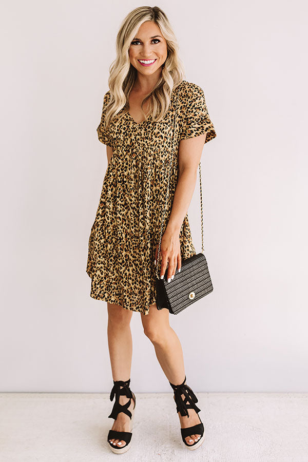 Chic And Steady Leopard Babydoll Dress