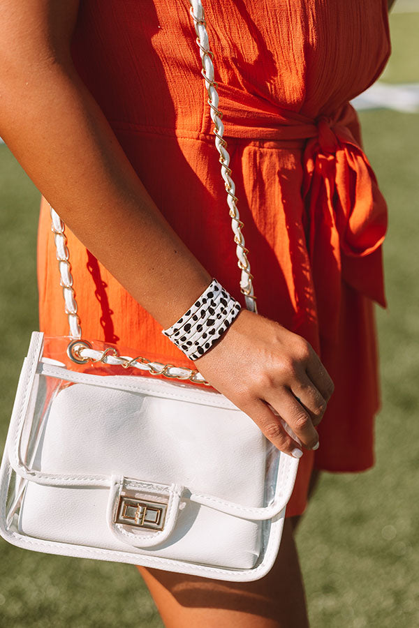 Chic Aspirations Transparent Crossbody In White
