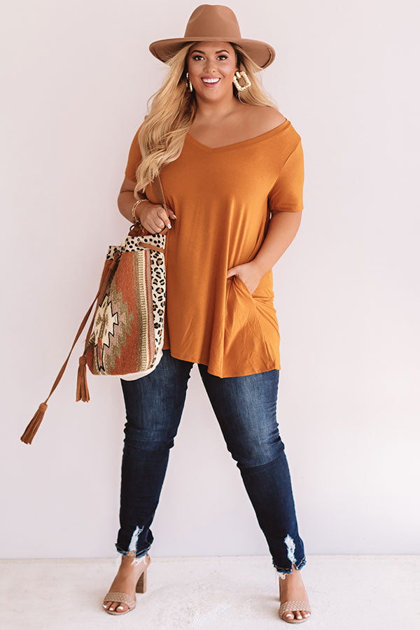 Down, Set, Chic T-Shirt Dress In Pumpkin