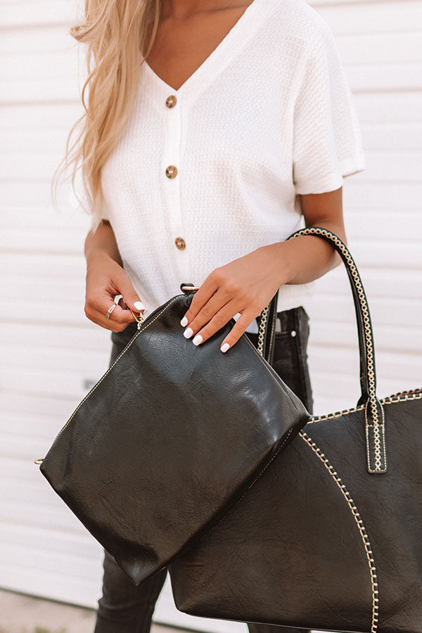 Weekend In NYC Faux Leather Tote In Black