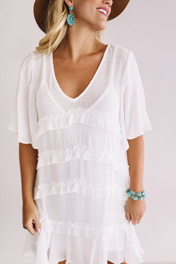 Denver Coffee Date Shift Dress In White